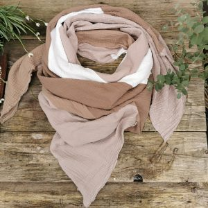 by Monja XL-Dreieckstuch Musselin BEIGE MIX